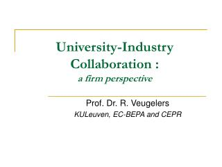 University-Industry Collaboration :  a firm perspective