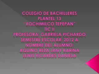 """Colegio de bachilleres  Plantel 13  """"Xochimilco  tepepan """" Tic  ii Profesora: Gabriela Pichardo"""