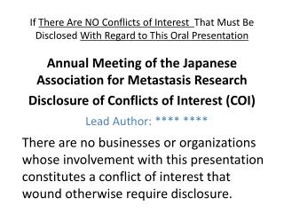 Annual Meeting of the Japanese Association for Metastasis Research