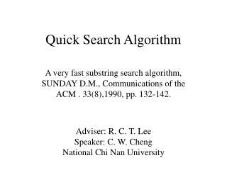 Quick Search Algorithm