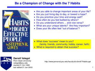 Be a Champion of Change with the 7 Habits