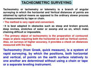TACHEOMETRIC SURVEYING