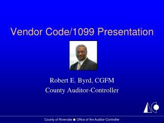 Vendor Code/1099 Presentation