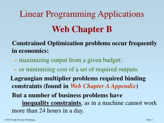 Linear Programming Applications  Web Chapter B