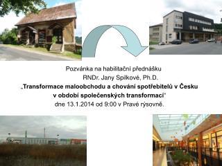 Pozvánka na habilitační přednášku RNDr. Jany Spilkové, Ph.D.