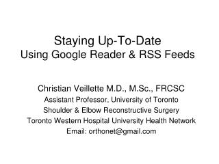 Staying Up-To-Date Using Google Reader & RSS Feeds