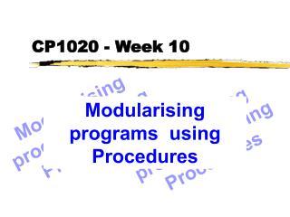 CP1020 - Week 10