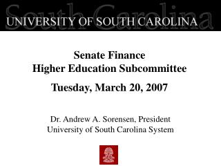 Senate Finance  Higher Education Subcommittee  Tuesday, March 20, 2007
