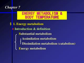 ENERGY METABOLISM  BODY TEMPERATURE