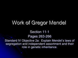 Work of  Gregor  Mendel