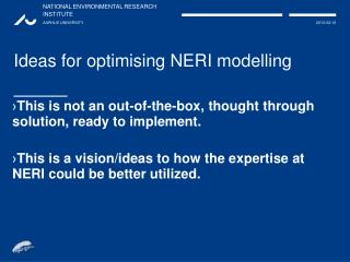 Ideas for optimising NERI modelling
