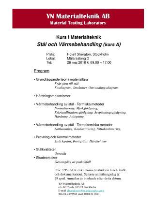YN Materialteknik AB Material Testing Laboratory