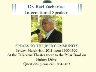 Dr. Ravi Zacharias: International Speaker