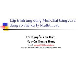 Lập trình ứng dụng MiniChat bằng Java dùng cơ chế xử lý Multithread