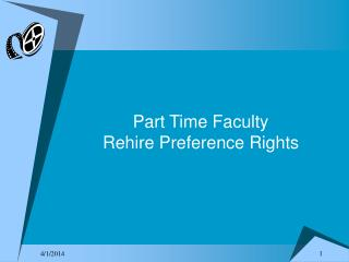 Part Time Faculty  Rehire Preference Rights