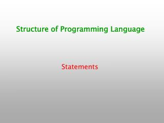 Structure of Programming Language