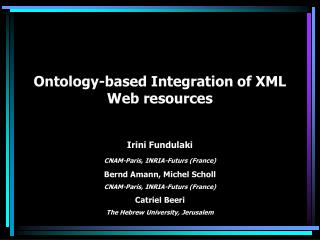 Ontology-based Integration of XML Web resources