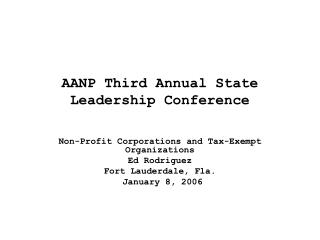 AANP Third Annual State Leadership Conference