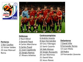 Porteros 1 Iker Casillas 12  Victor Valdes  23 Jose Manuel Reina