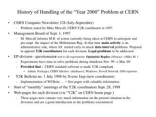 "History of Handling of the ""Year 2000"" Problem at CERN"