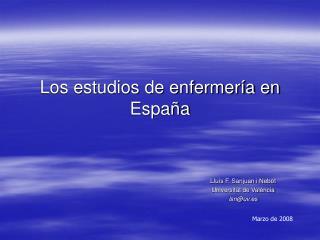 Los estudios de enfermer�a en Espa�a