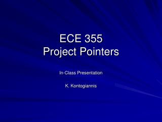 ECE 355  Project Pointers