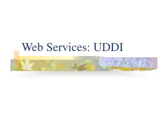 Web Services:  UDDI