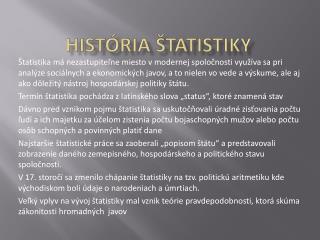 História štatistiky