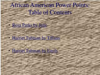 African American Power Points: Table of Contents