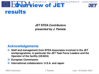 Overview of JET results