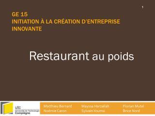 GE 15  Initiation à la création d'entreprise innovante