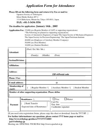 Application Form for Attendance