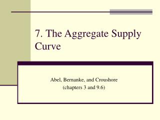 7. The Aggregate Supply Curve
