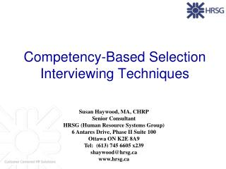 Competency-Based Selection Interviewing Techniques