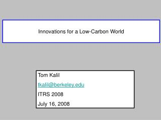 Innovations for a Low-Carbon World