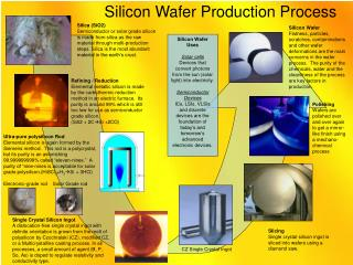 Silica SiO2 Semiconductor or solar grade silicon is made from silica as the raw material through multi-production steps.