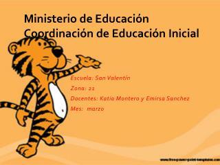 Ministerio de Educación Coordinación de Educación Inicial