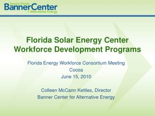 Florida Solar Energy Center Workforce Development Programs