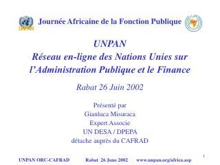 Journée Africaine de la Fonction Publique UNPAN Réseau en-ligne des Nations Unies sur