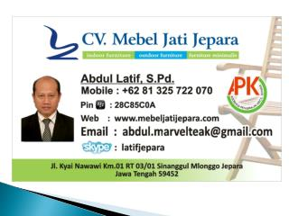 CV. MEBEL   JATI  JEPARA AND APKJ  THE SVLK GROUP VERIFICATION FOR SMEs