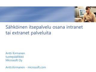 Sähköinen itsepalvelu osana  intranet tai extranet  palveluita