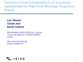 Towards formal manipulations of scenarios represented by High-level Message Sequence Charts