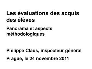 Panorama des �valuations