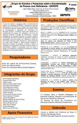 Líder:  Prof (a).  Dr (a).  Juliane Ap.  de Paula Perez  Campos jappcampos@gmail
