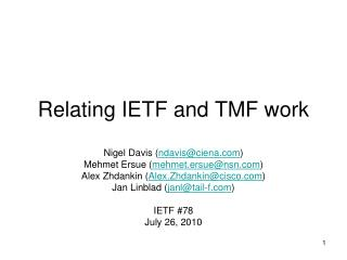 Relating IETF and TMF work