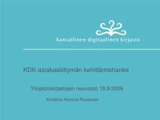 KDK-asiakasliittymän kehittämishanke