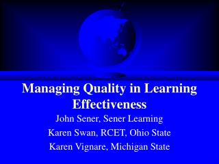 Managing Quality in Learning Effectiveness