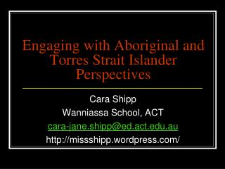 Engaging with Aboriginal and Torres Strait Islander Perspectives