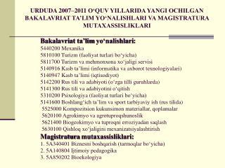 Bakalavriat ta�lim yo�nalishlari : 5440200  M ??anika