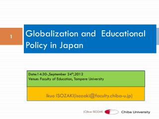 Globalization and  Educational Policy in Japan